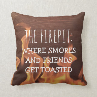 Funny Camping Saying | Camper Firepit Smores Throw Pillow