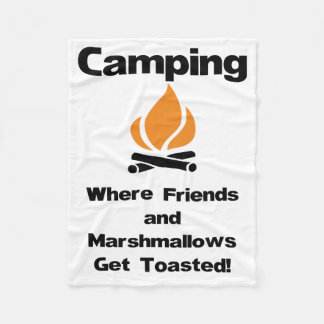 Funny Camping Saying with Marshmallows and Friends Fleece Blanket