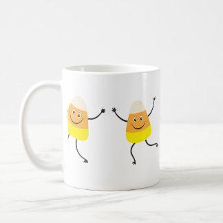 Funny candy corn cartoon characters mug