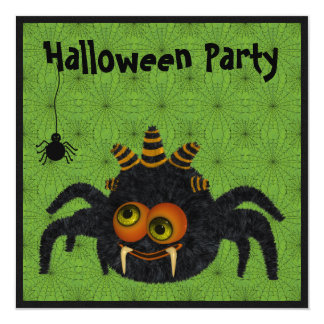 Funny Candy Corn Spider & Cobwebs Halloween Party Invites