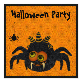 Funny Candy Corn Spider & Cobwebs Halloween Party 5.25x5.25 Square Paper Invitation Card