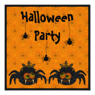 Funny Candy Corn Spiders & Cobwebs Halloween Party 5.25x5.25 Square Paper Invitation Card
