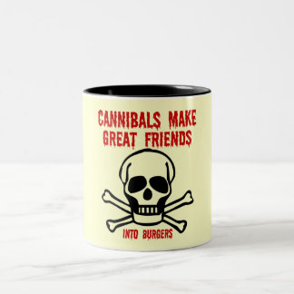 Funny cannibal Two-Tone coffee mug