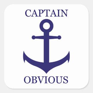 "Funny ""Captain Obvious"" & Anchor Square Sticker"