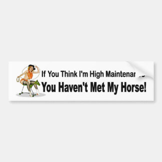 Funny car sticker for women who own horses bumper sticker