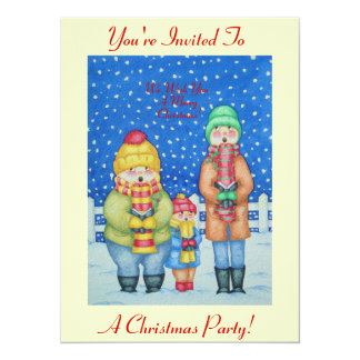 """funny carol singers in the snow christmas design 5.5"""" x 7.5"""" invitation card"""
