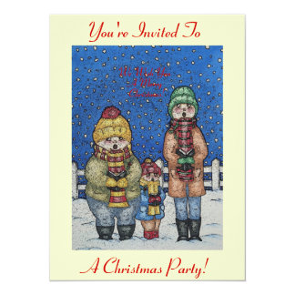 "funny carol singers in the snow christmas design 5.5"" x 7.5"" invitation card"