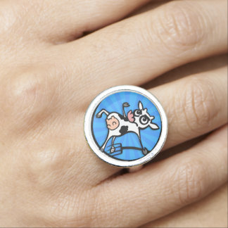 FUNNY CARTON STYLE COW ROUND RING