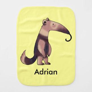 funny cartoon anteater - just add name burp cloth