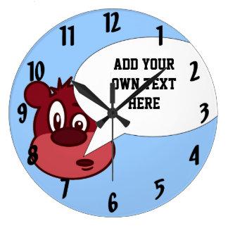 Funny cartoon bear & speech bubble large clock
