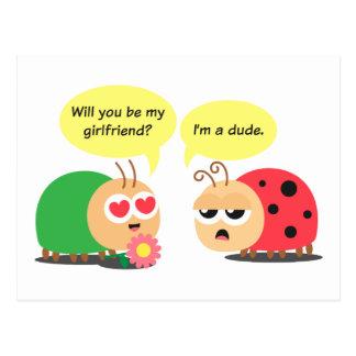 Funny Cartoon - Beetle Mistook Ladybug as a girl Postcard