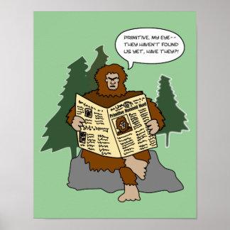 Funny Cartoon Bigfoot Reading Customizable Poster