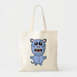 Funny Cartoon Blue Cat tote bag