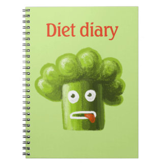 Funny Cartoon Broccoli Diet Diary Notebook
