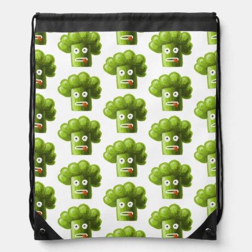 Funny Cartoon Broccoli Pattern Drawstring Bag