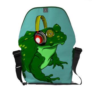 Funny Cartoon Bullfrog  Listening to Headphones Commuter Bag