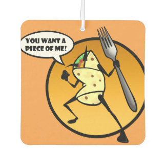 FUNNY CARTOON BURRITO SQUARE AIR FRESHENER