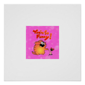 Funny Cartoon Cat and Mouse Poster
