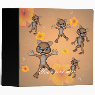 Funny cartoon cat 3 ring binder