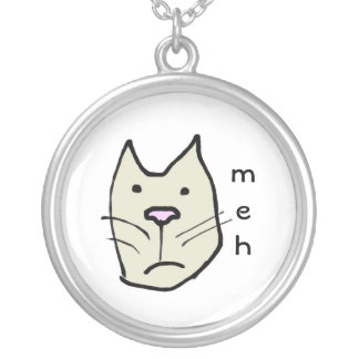 Funny Cartoon Cat Face Meh Silver Plated Necklace