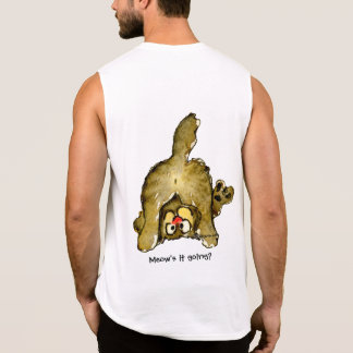 Funny Cartoon Cat Meow's it Going? Sleeveless Shirt