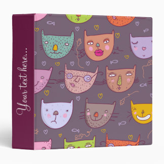 Funny cartoon cats 3 ring binder
