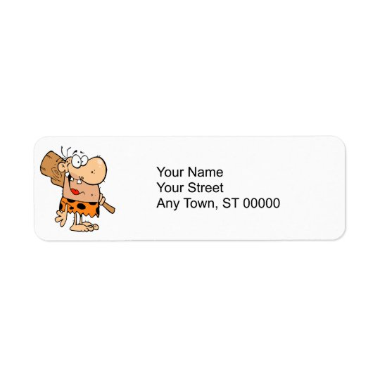 funny cartoon caveman with club return address label