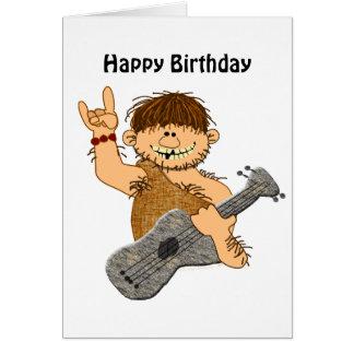 Funny Cartoon Caveman with Guitar Card Template