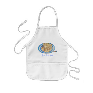 funny cartoon character blue hat and apple pie kids apron