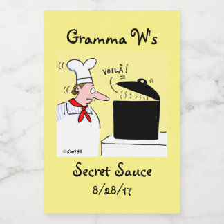 Funny Cartoon Chef with Kettle on Stove Food Label