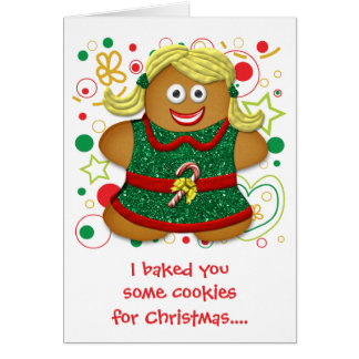 Funny Cartoon Cookie Christmas Xmas Holiday Greeting Card