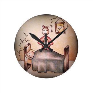Funny Cartoon Couple Girl Cymbals Boy Sleeping Wall Clock