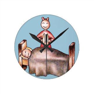 Funny Cartoon Couple Girl Cymbals Boy Sleeping Wallclocks