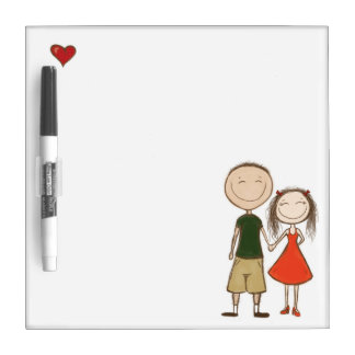 Funny cartoon couple sketch dry erase board