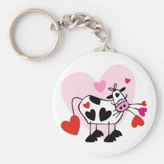 Funny cartoon cow mad love keychain