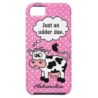 Funny Cartoon Cow Pink Polka Dot Personalized iPhone 5 Case