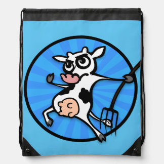 FUNNY CARTOON COW WITH PITCH FORK BACKPACK