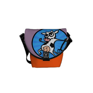 FUNNY CARTOON COW WITH PITCH FORK MESSENGER BAG