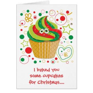 Funny Cartoon Cupcake Christmas Xmas Holiday Card