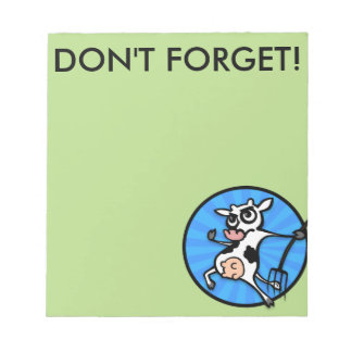 FUNNY CARTOON DAIRY COW GRAPHIC NOTEPAD