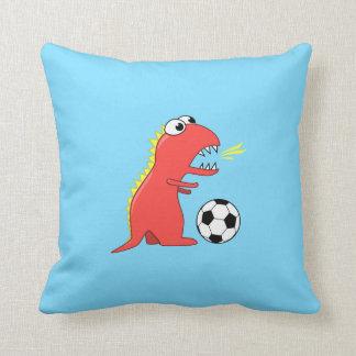 Funny Cartoon Dinosaur Playing Soccer Kids Throw Pillow