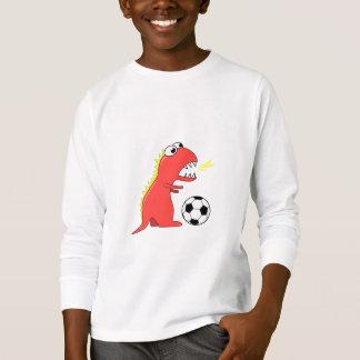 Funny Cartoon Dinosaur Soccer Kids Long Sleeve T-Shirt