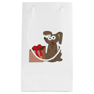 Funny Cartoon Dog with Present Small Gift Bag
