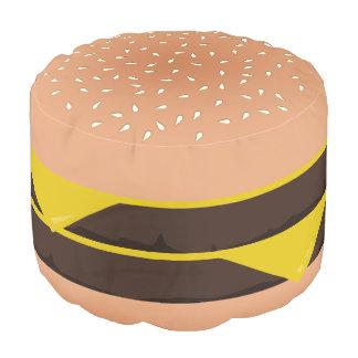 Funny Cartoon Double Cheeseburger Pouf