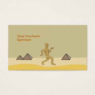 Funny Cartoon Egyptian Mummy Pyramids Custom Business Card