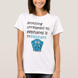 Funny Cartoon Elephant Text T-Shirt