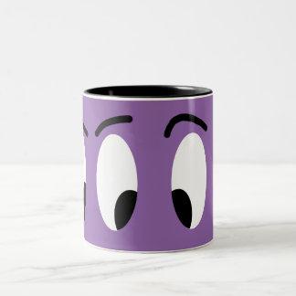 Funny Cartoon Eyes Expression Cute Fun Character Two-Tone Coffee Mug