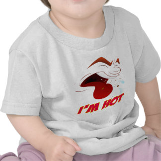 Funny Cartoon Face Expression With I'm Hot Words Tees