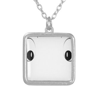 Funny cartoon face silver plated necklace
