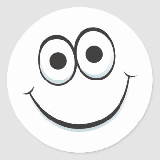 Funny cartoon face with big happy smile stickers